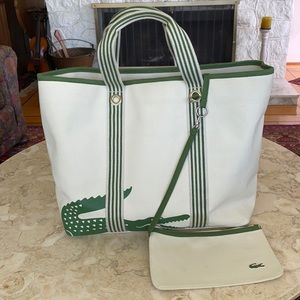 Lacoste Extra Large Canvas Tote w/ Zippered Pouch